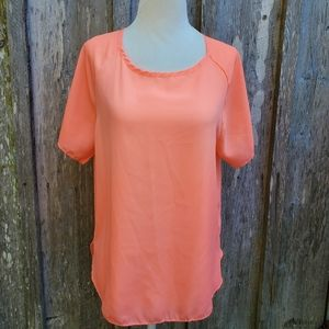 Absolute Angel Bright Coral Hi Low Blouse …